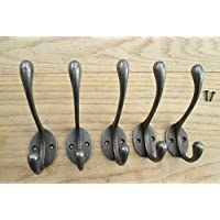 IRONMONGERY WORLD® 5 X CAST IRON VICTORIAN HAT AND COAT HOOK NATURAL OLD FINISH SCHOOL HOUSE HOOK