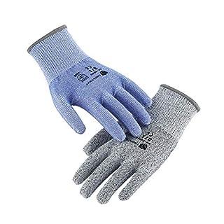 Taille 9 / L Lot de 2 Gants Anti-Coupure avec Protection de Niveau 5 (Certifié EN388, Bleu et Gris, Longueur du gant: 24cm, Largeur paume: 9cm) Unisexe