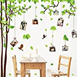 GoldenCart EXTRA LARGE I 3D LOVE I Photo Frame Wall Stickers For Living Room I Family Tree Wall Stickers For Kids Room Bedroom I HANGING VINES ON LUSH GREEN FAMILY TREE With 7 PHOTO FRAMES I Latest Wall Art Theme For Lovely Couples, Women, Men, Girls And