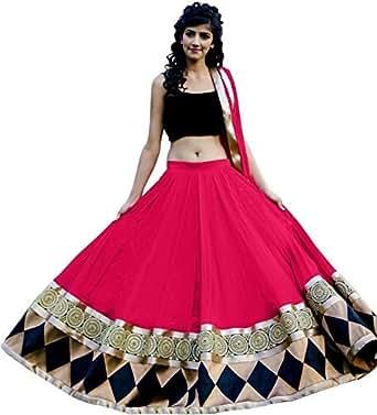 Salwar Style Women's Silk Lehenga Choli (Kaju Katri_C-Green_Free Size)