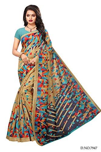 Applecreation art silk saree With Blouse Piece (multicolour saree_Free Size_SRJB012)