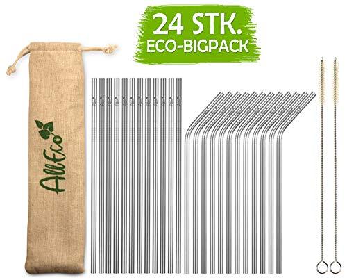 AllEco Edelstahl Strohhalm 24er Set + 2 Reinigungsbürsten + Eco-Beutel - Premium-Qualität, umweltfreundlich, nachhaltig, wiederverwendbar & plastikfrei