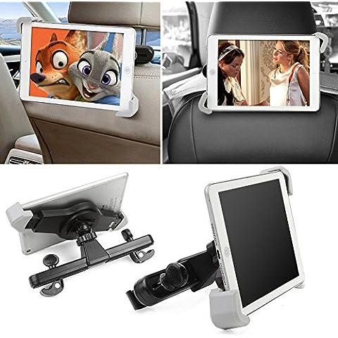 360° grados, giratorio, ajustable reposacabezas asiento de coche soporte de montaje para iPad, Samsung Galaxy, Motorola Xoom, y todas las tablets-black