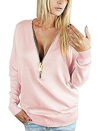 Yidarton T-Shirt Femme Manches Longues Col V à Zippé Casual Tops Haut Blouse Mode
