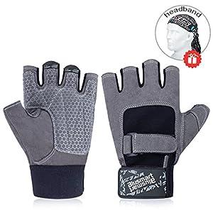 Blusmart Fitness Handschuhe, Trainingshandschuhe Halbfinger Fitnesshandschuhe Sport Handschuhen mit Adjustable Handflächenschutz Silica Gel Grip für Gewichtheben Gym Radfahren (Männer und Frauen)
