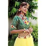 Savya Jewels Pearl Yellow and Pink Beads Mogra Floral Flower Haldi Baby Shower Mehndi Godbharai Jewellery Set for Women and G