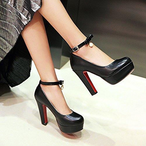 Damen Pumps High-Heel Stiletto Kn?chelriemchen Plateau mit Perlen Anh?nger Schwarz