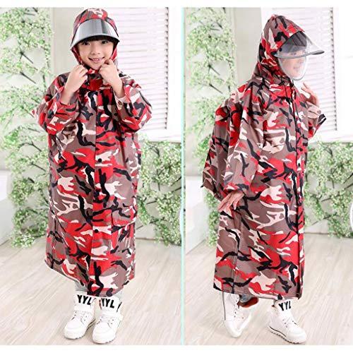 BAIF Regenmäntel Kinder tragen Dicke Tarnung Poncho Bit männliche und weibliche Studenten mit Schultaschen, Schultaschen Ort (Farbe: D-m)