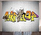 ABAKUHAUS Hip Hop Tenda, Funky Sotterraneo Font, Tende per Finestra Due Pannelli Set, 280 x 245 cm, Multicolore