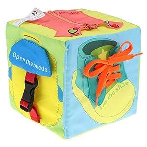 Toygogo Cubo De Tela Suave para Bebés 6 En 1, Aprenda A Vestirse para Bebés Pequeños, Montessori Basic Life Skills Toy…