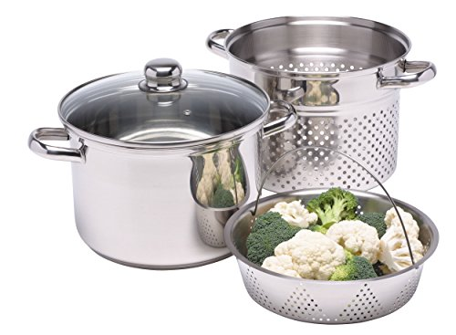 Kitchen Craft Italian Collection Pentola per pasta in acciaio INOX con inserto per cottura al vapore, 20 cm