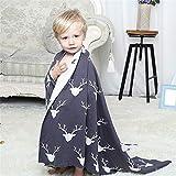 WANMT Babydecken Baumwolle Baumwolldecke für Kinder Strickdecke Multifunktions-Sofadecke, 75x100 cm