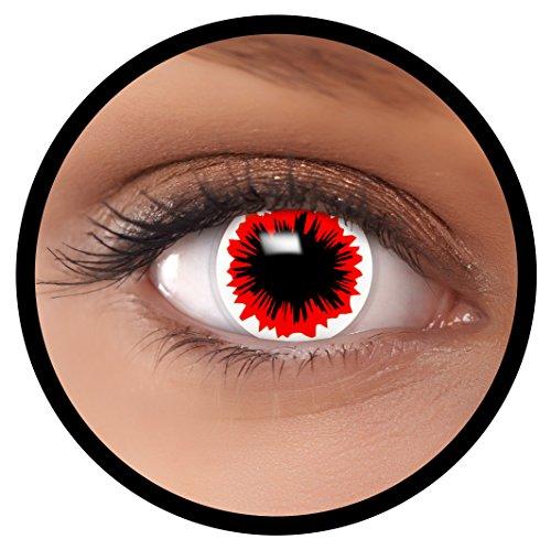 FXEYEZ® Farbige Kontaktlinsen rot Virus + Linsenbehälter, weich, ohne Stärke als 2er Pack - angenehm zu tragen und perfekt zu Halloween, Karneval, Fasching oder Fasnacht