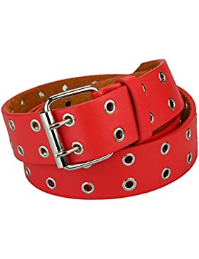 Cinturón de piel auténtica con r