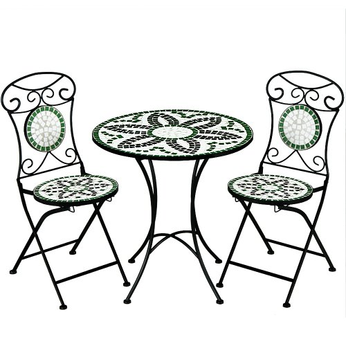 Deuba Mosaic Patio Table and Chairs Set Floralis - Garden Terrace Furniture Set - 1 Table & 2 foldable Chairs
