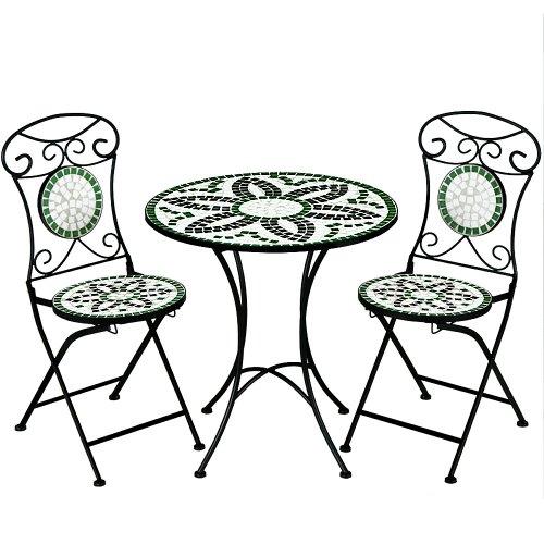 Salon de jardin FLORALIS mosaique - 1 table et 2 chaises pliables - balcon terrasse interieur