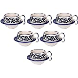 OJOS(™) Hand-Painted Floral Print Blue Ceramic Cup Saucer(Set Of 6) Tea And Coffee Cups Microwave Safe