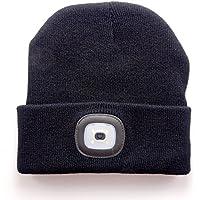 OUMEIOU Cappello illuminato nuovo beige caldo luminoso del LED Beanie  unisex cappello ricaricabile del faro multifunzionale eb140c69125b