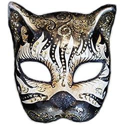 Máscara Veneciana del Gato de la Mitad de la Cara Gatto Cabare para Las Mujeres (Negro)
