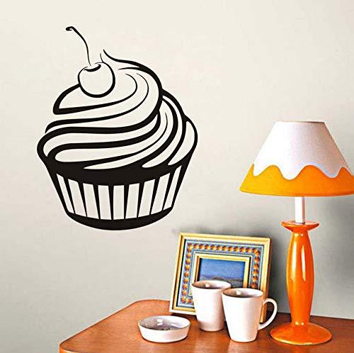 hzeit Dekoration Kuchen Wandaufkleber Kirsche Creme Cupcake Home Decor Innenkleber Vinyl Wandtattoos Für Küche 35X44 Cm ()