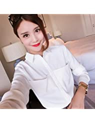 Manga larga suelta Joker primavera blanco camisa camisa gasa profesional coreano mujeres de primavera ,M,Blanco