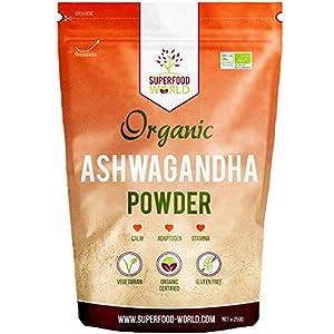 Organic Ashwagandha Powder 250g   All Natural Anxiety Relief, Stress Support & Sleep Aid   Immune, Brain, Thryroid & Fatigue Support   Vegan Friendly Ashwgandha Root Powder to Boost Energy Levels