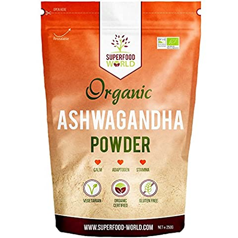 Organic Ashwagandha Powder 250g | All Natural Anxiety Relief, Stress Support & Sleep Aid | Immune, Brain, Thryroid & Fatigue Support | Vegan Friendly Ashwgandha Root Powder to Boost Energy