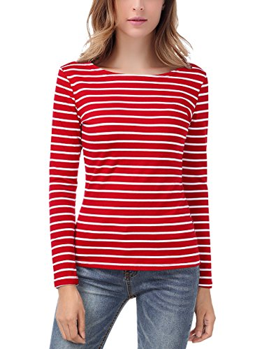 EA Selection Damen Ringel T Shirt Baumwoll Streifen Striped Marine Basic Rot&Weiß L (Tee Striped L/s)