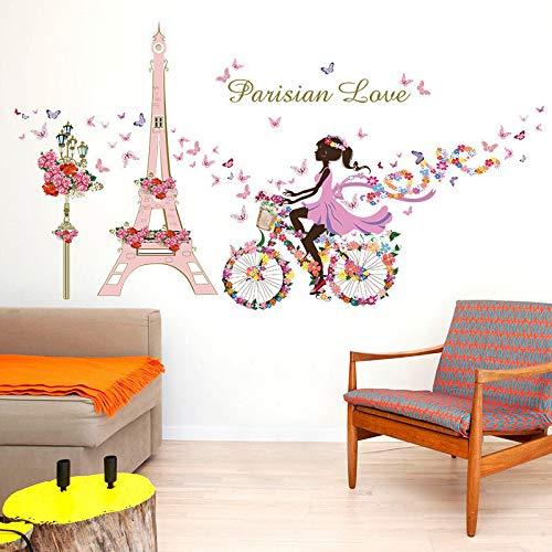 Sticker mural de Paris pour les chambres d'enfants tour eiffel fleur papillon fée fille équitation art Decal décor à la maison murale