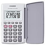 Calculadora Casio de Bolsillo HL-820-LV-WE Blanca con Tapa Protectora que gira 360º Pantalla Grande Numeros Grandes Porcentajes Raices Cuadradas