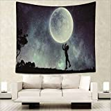 BAOQIN 60 * 80 Inches Unique Design Wonderful Prints Moon and Night Hippie Tapestries Bohemian Tapestry Wall Hanging Indian Wall Art Blue Green Bedspread Dorm Décor (Moon and Night) (4, M.150130