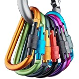 10 llaveros Sunreek en aluminio con cierre de mosquetón y anilla en forma de D estilo escalada, colores aleatorios