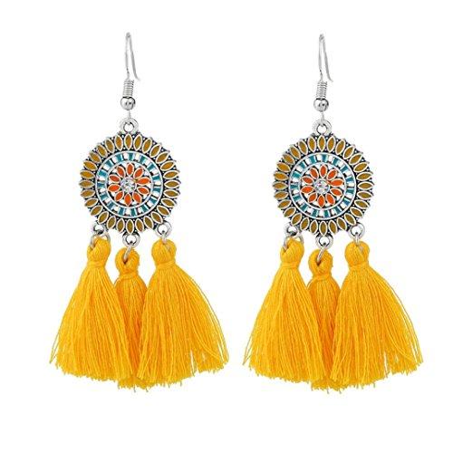 Böhmische Ohrringe Frauen lange Troddel Fringe baumeln Ohrringe Schmuck HKFV ,Europa und die Vereinigten Staaten Mode große Quaste Ohrringe (Gelb) (Lange Engelsflügel Kostüm)