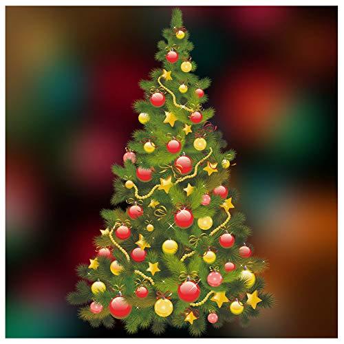 Farbige doppelseitige Fenstersticker, Weihnachtsbaum-Motiv, Weihnachtsdekoration von Stickers4 1. Traditional Tree