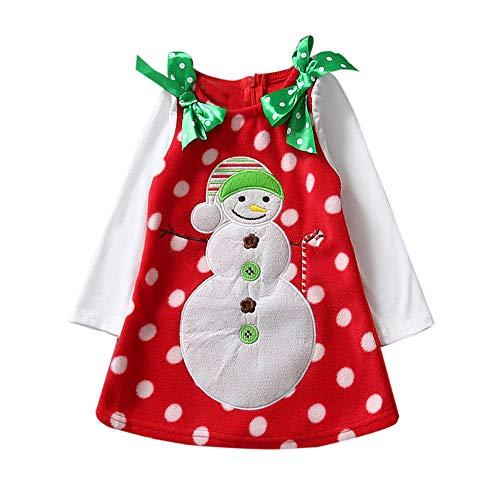Riou Weihnachten Set Baby Kleidung Pullover Pyjama Outfits Set Familie Mode Kinder Kleinkind Mädchen Weihnachten Schneemann Bowknot Kleid Kleidung (100, Rot)