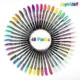Joyoldelf 48 PCS Stylos en Gel Couleur, Pailletes Pastel Fluorescent Stylo Feuille de Meilleures Couleurs Parfait pour Livres de Coloriage Enfant Adulte Art Thérapie Anti Stress Professionnel Amateur
