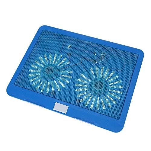 L-MEIQUN,2 Lüfter leiser dünner Computer-Kühlrahmen USB-Kühler mit blauem LED-Licht für 12- bis 15-Zoll-Notebook