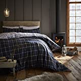 Catherine Lansfield Brushed Tartan Check Cotton Double Duvet Set Navy