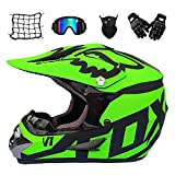 MRDEAR Casque Motocross - 5 Pcs - Casque Downhill - Noir et Vert - Casque BMX Integral Casque de Route Off-Road Cross Road Race Certifié Dot,M