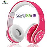 Kabellose Bluetooth Faltbare Kopfhörer für Kinder Jugendliche Leicht tragbare Headset mit Mikrofon Sportkopfhörer Hi-Fi Audio Lautstärkebeschänkung Over Ear Stereo Bügelkopfhörer.Rosa