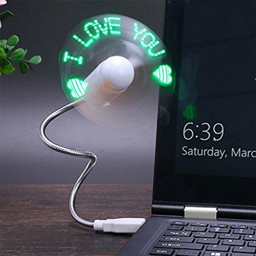 GHFDSJHSD GZD USB Mini LED Fan Message Fan mit Flexibler Schwanenhals Nachricht Programmierbare RGB LED Display Speicher Funktion Für PC Laptop Notebook Desktops, Green