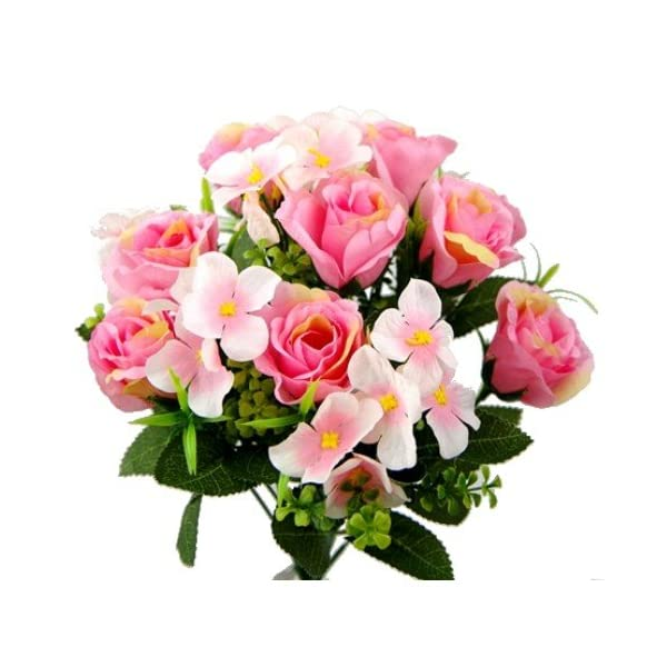 40cm rosa de seda Artificial rosa y hortensia Bush con 18cabezales de flores–boda tumba decoración del hogar