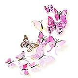 TININNA 12 Pcs entfernbare bunte stilvolle PVC 3D Schmetterlings Wand Aufkleber Schmetterlings Dekorationen für Wand Dekor Ausgangsdekor Kinderzimmer Schlafzimmer Dekor (Rosa) EINWEG Verpackung