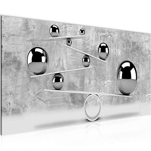 Bilder 3D - Kugeln Wandbild 100 x 40 cm Vlies - Leinwand Bild XXL Format Wandbilder Wohnzimmer Wohnung Deko Kunstdrucke Grau 1 Teilig - Made IN Germany - Fertig zum Aufhängen 504312b (Wandbilder Für Wohnzimmer)