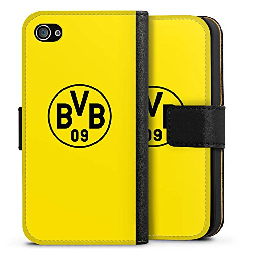 Apple iPhone 7 Silikon Hülle Case Schutzhülle Borussia Dortmund BVB Logo gelb Sideflip Tasche schwarz