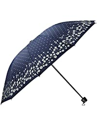 Umbrella Mart 3 Fold Digital Printed Rain Sun & UV Rays Protective Umbrella (Blue/Multi)