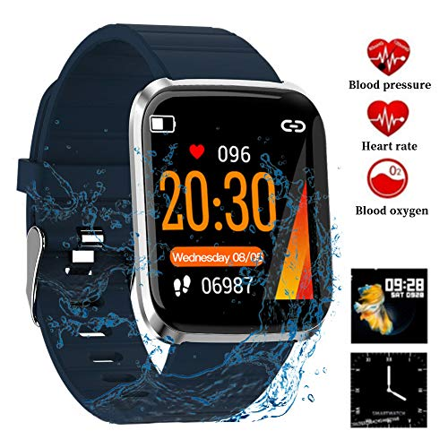 Litake Smart Watch Fitness Tracker,HD Color Screen 116 Pro Smart Wristband Fitness Bracelet Blood Pressure Heart Rate Monitor,Blue