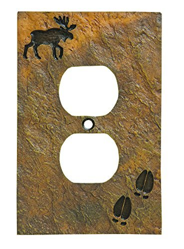 Big Sky Carvers 30170443 Moose and Tracks Single Outlet Cover by Big Sky Carvers -