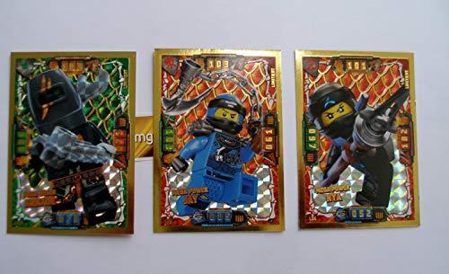 Lego Ninjago Serie 4 - 3 Limitierte Gold Karten Trading Card LE 4 Mega Power NYA LE 6 Mega Power Jay LE 23 Mega Böser Arkade + 1 Ninja Schutzhülle + 1 Gold Sticker