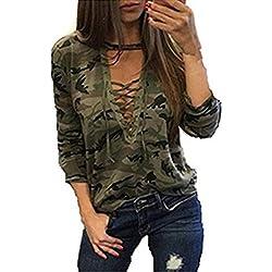 Mujer Camisetas Manga Larga Originales Basicas Camuflaje Tops Elegantes Moda Fiesta V Cuello Primavera Otoño Militares Tallas Grandes Blusas con Cordones Deporte Casual Blusones Ropa Dama